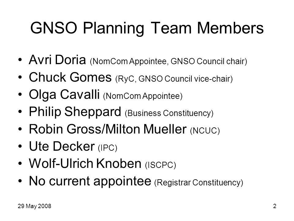 29 May 20083 ICANN Planning Team Members Susan Crawford (BGC Liaison) Denise Michel (VP, Policy Development) Liz Gasster (Sr.