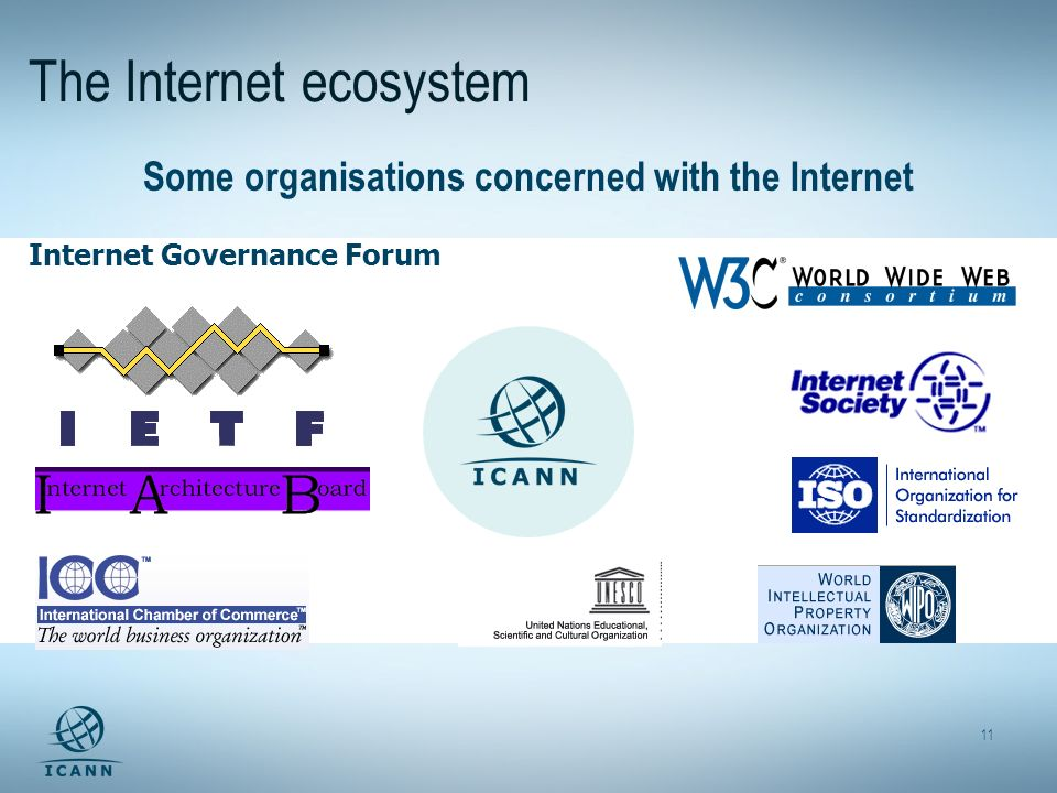 11 The Internet ecosystem Some organisations concerned with the Internet Internet Governance Forum