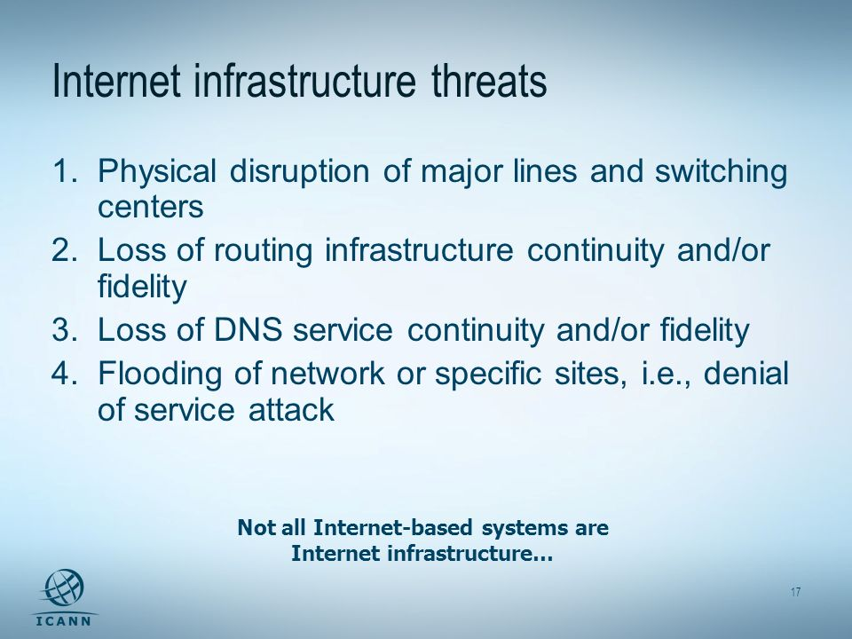 17 Internet infrastructure threats 1.Physical disruption of major lines and switching centers 2.Loss of routing infrastructure continuity and/or fidelity 3.Loss of DNS service continuity and/or fidelity 4.Flooding of network or specific sites, i.e., denial of service attack Not all Internet-based systems are Internet infrastructure…