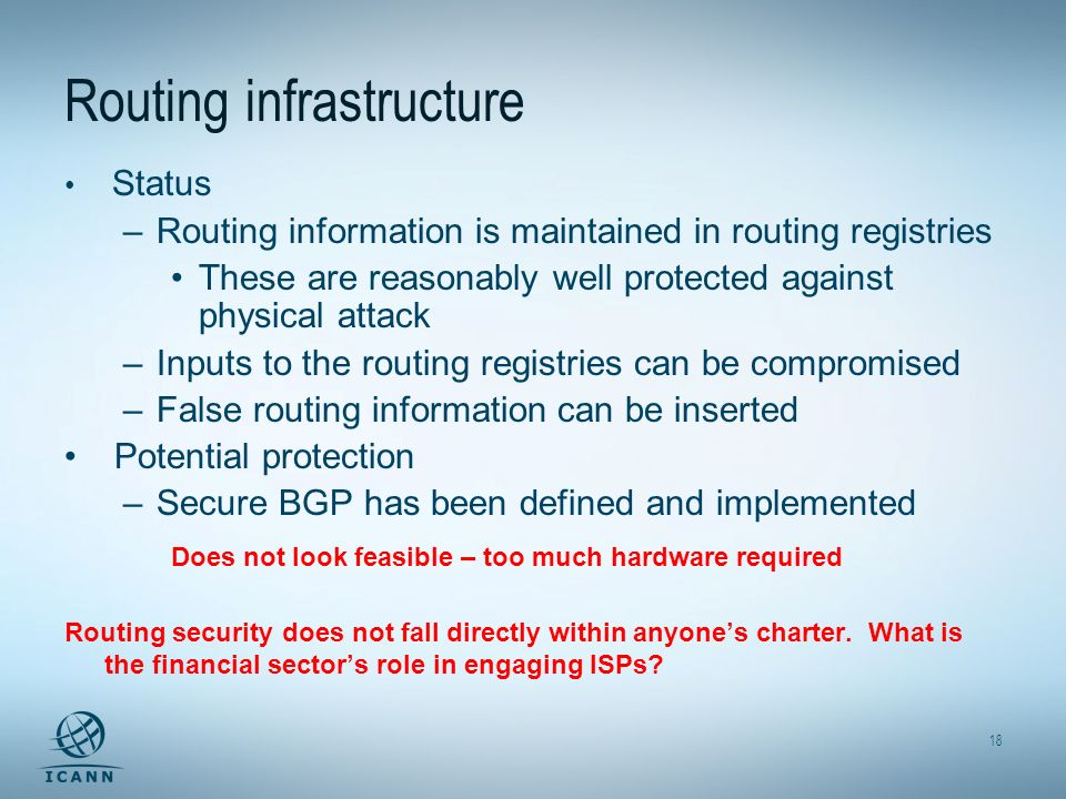 18 Routing infrastructure Status –Routing information is maintained in routing registries These are reasonably well protected against physical attack –Inputs to the routing registries can be compromised –False routing information can be inserted Potential protection –Secure BGP has been defined and implemented Does not look feasible – too much hardware required Routing security does not fall directly within anyones charter.