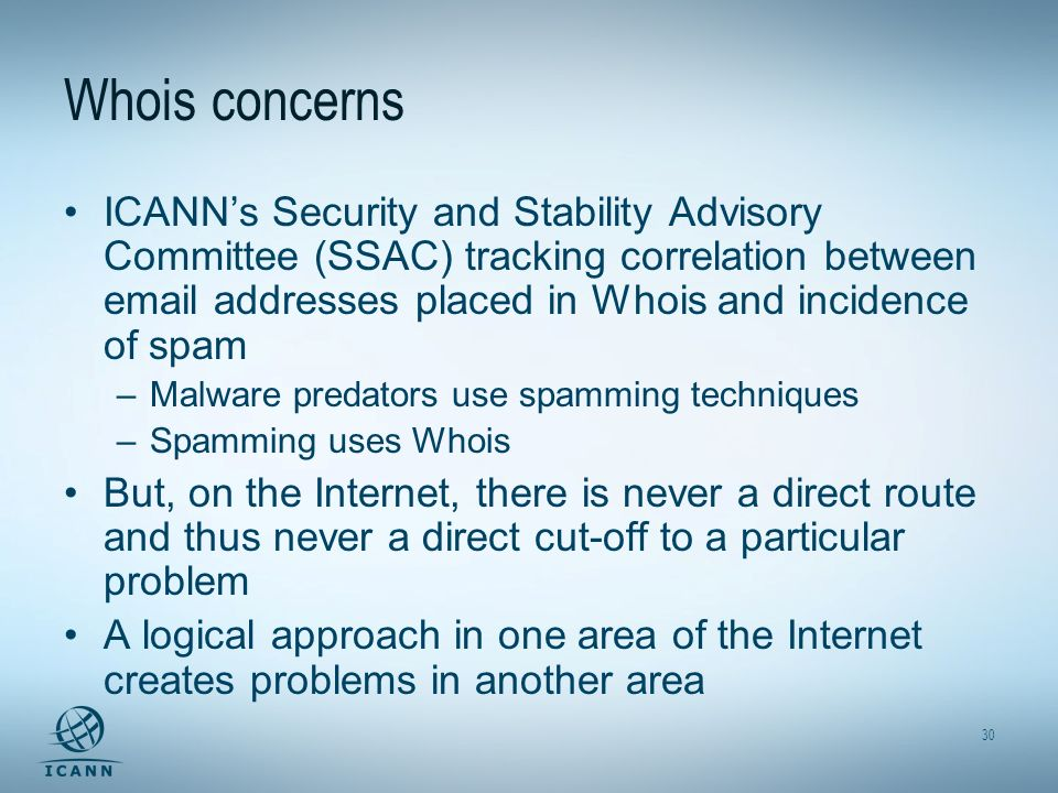 30 Whois concerns ICANNs Security and Stability Advisory Committee (SSAC) tracking correlation between email addresses placed in Whois and incidence o