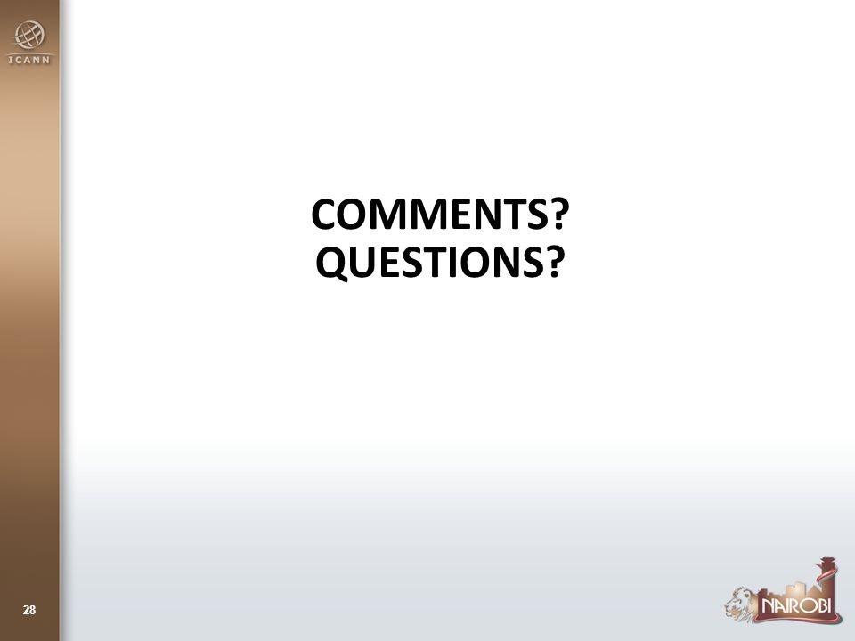 COMMENTS QUESTIONS 28