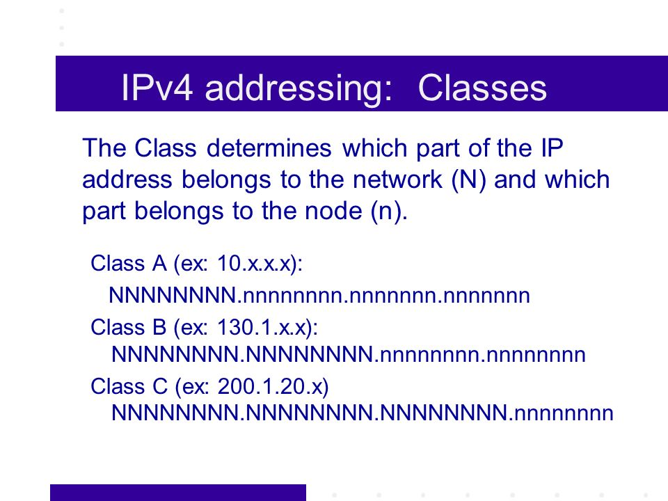 IPv4 addressing: Classes The Class determines which part of the IP address belongs to the network (N) and which part belongs to the node (n).