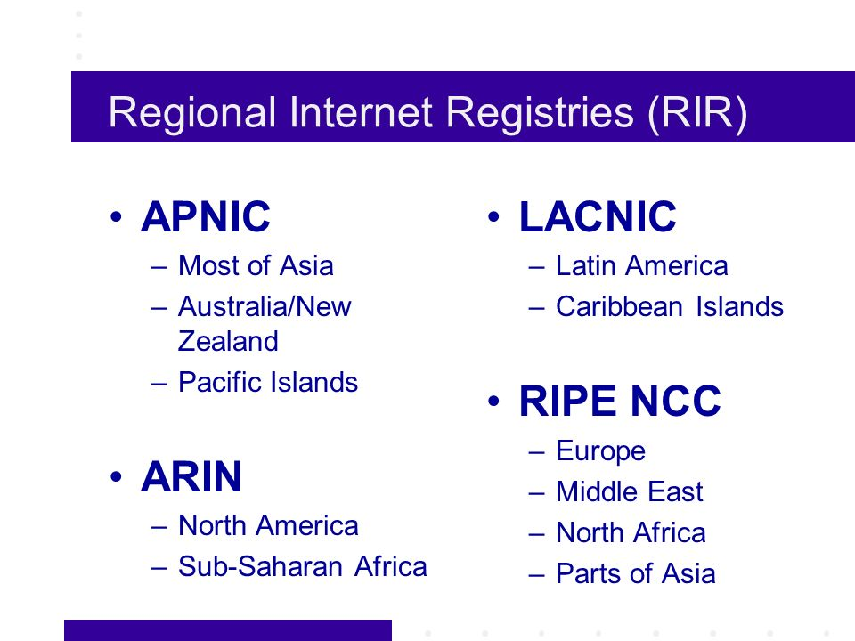 Regional Internet Registries (RIR) APNIC –Most of Asia –Australia/New Zealand –Pacific Islands ARIN –North America –Sub-Saharan Africa LACNIC –Latin America –Caribbean Islands RIPE NCC –Europe –Middle East –North Africa –Parts of Asia