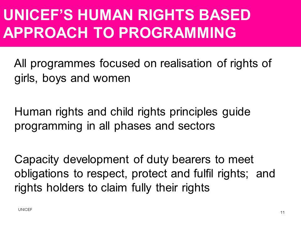 UNICEFS HUMAN RIGHTS BASED APPROACH TO PROGRAMMING All programmes focused on realisation of rights of girls, boys and women Human rights and child rights principles guide programming in all phases and sectors Capacity development of duty bearers to meet obligations to respect, protect and fulfil rights; and rights holders to claim fully their rights UNICEF 11