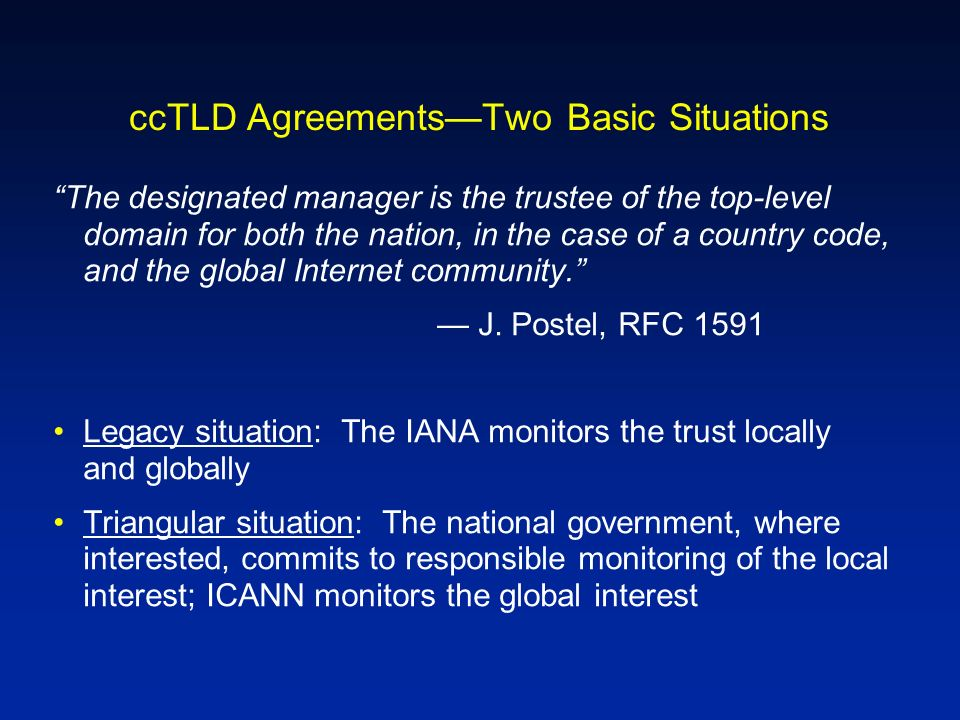 ccTLD AgreementsTwo Basic Situations The designated manager is the trustee of the top-level domain for both the nation, in the case of a country code,