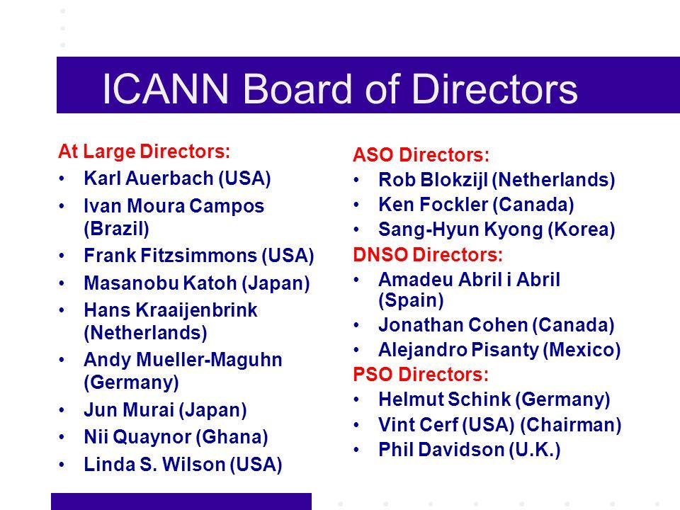 ICANN Board of Directors At Large Directors: Karl Auerbach (USA) Ivan Moura Campos (Brazil) Frank Fitzsimmons (USA) Masanobu Katoh (Japan) Hans Kraaijenbrink (Netherlands) Andy Mueller-Maguhn (Germany) Jun Murai (Japan) Nii Quaynor (Ghana) Linda S.