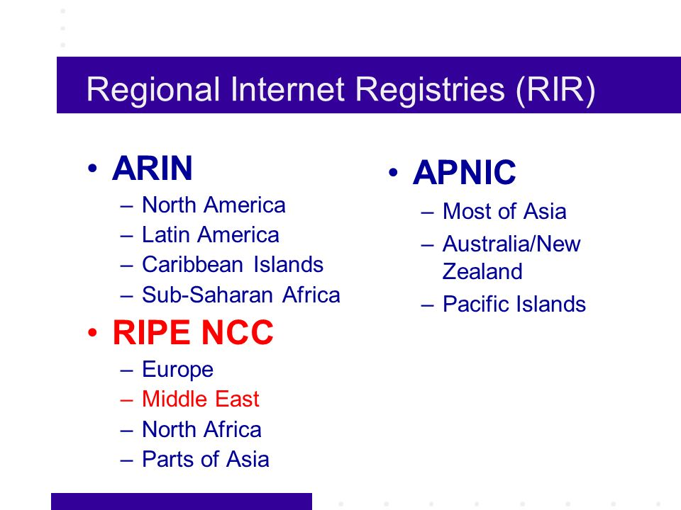 Regional Internet Registries (RIR) ARIN –North America –Latin America –Caribbean Islands –Sub-Saharan Africa RIPE NCC –Europe –Middle East –North Africa –Parts of Asia APNIC –Most of Asia –Australia/New Zealand –Pacific Islands