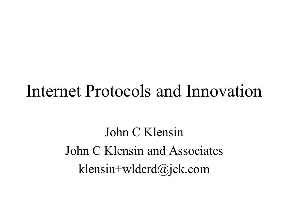 2003.10.072 Innovation – Key to Internet Progress New protocols and applications introduced regularly –Some for special uses or economic sectors –Some in the hope of being the next killer app Historically, no centralized or regulatory impediment to doing this.