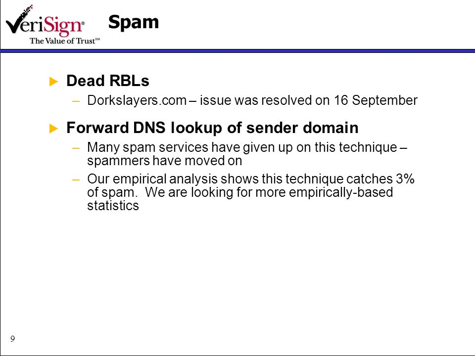9Spam Dead RBLs –Dorkslayers.com – issue was resolved on 16 September Forward DNS lookup of sender domain –Many spam services have given up on this technique – spammers have moved on –Our empirical analysis shows this technique catches 3% of spam.