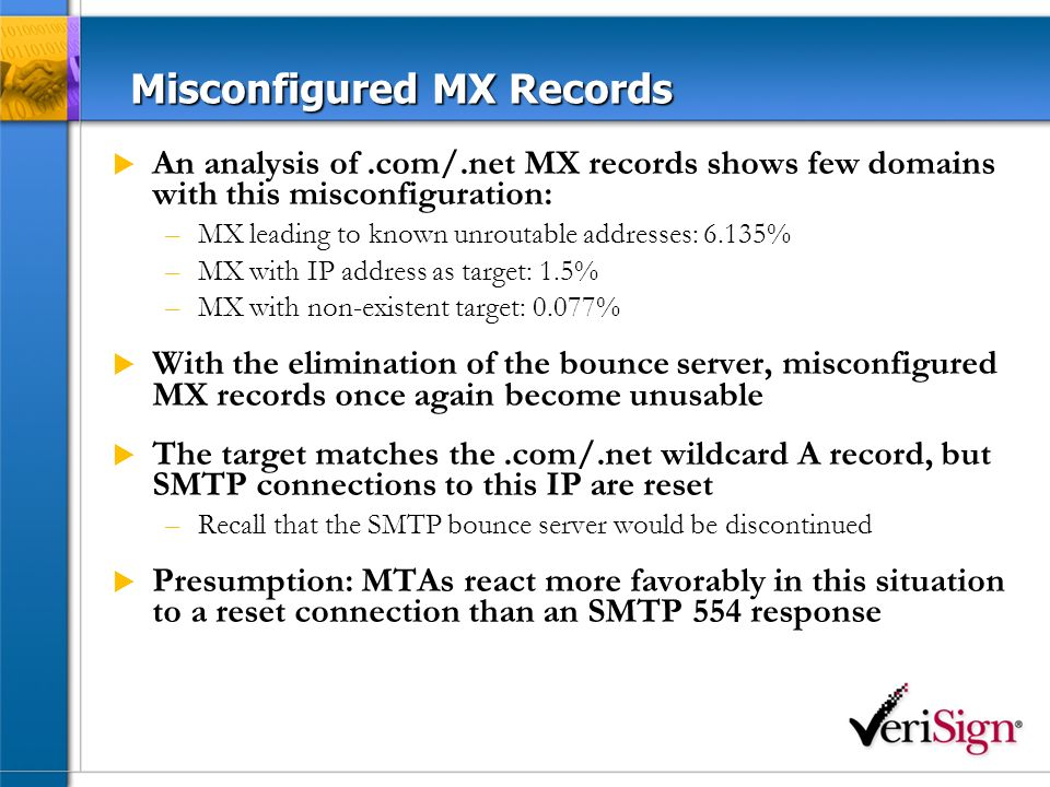 Misconfigured MX Records An analysis of.com/.net MX records shows few domains with this misconfiguration: –MX leading to known unroutable addresses: 6.135% –MX with IP address as target: 1.5% –MX with non-existent target: 0.077% With the elimination of the bounce server, misconfigured MX records once again become unusable The target matches the.com/.net wildcard A record, but SMTP connections to this IP are reset –Recall that the SMTP bounce server would be discontinued Presumption: MTAs react more favorably in this situation to a reset connection than an SMTP 554 response