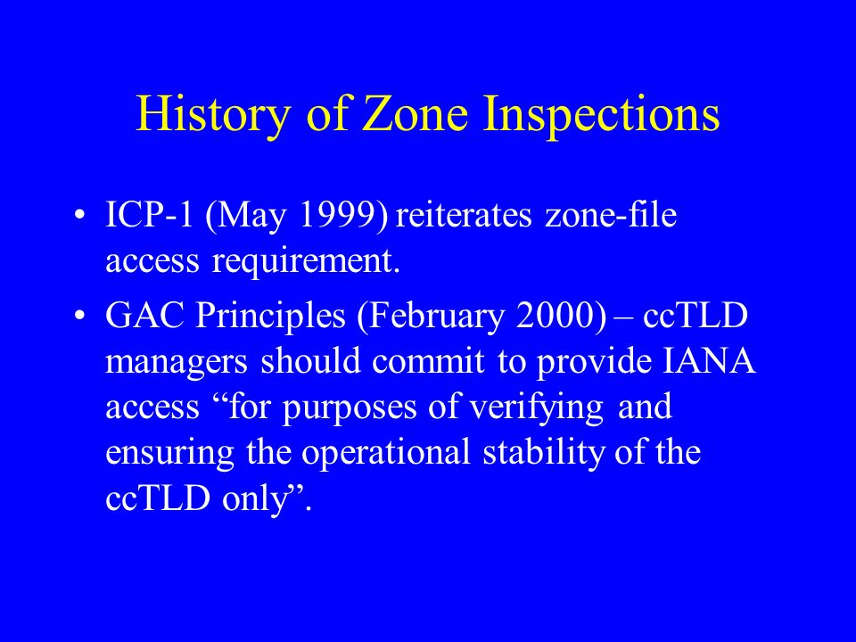 History of Zone Inspections ICP-1 (May 1999) reiterates zone-file access requirement.