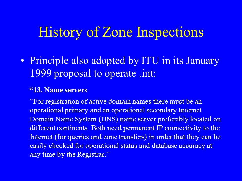 History of Zone Inspections Principle also adopted by ITU in its January 1999 proposal to operate.int: 13.