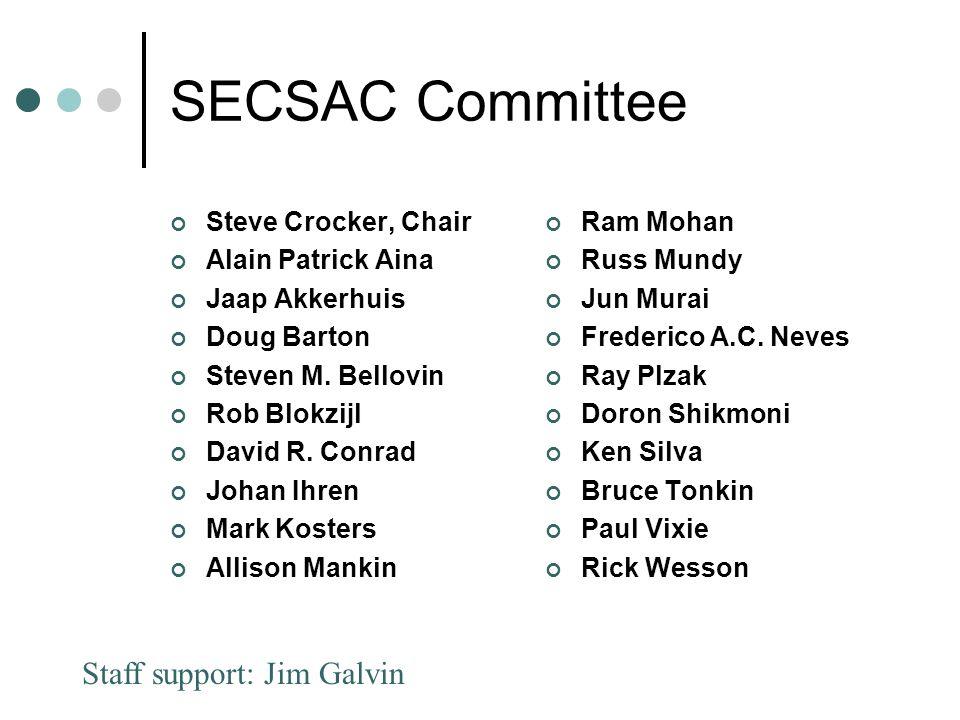 SECSAC Committee Steve Crocker, Chair Alain Patrick Aina Jaap Akkerhuis Doug Barton Steven M.