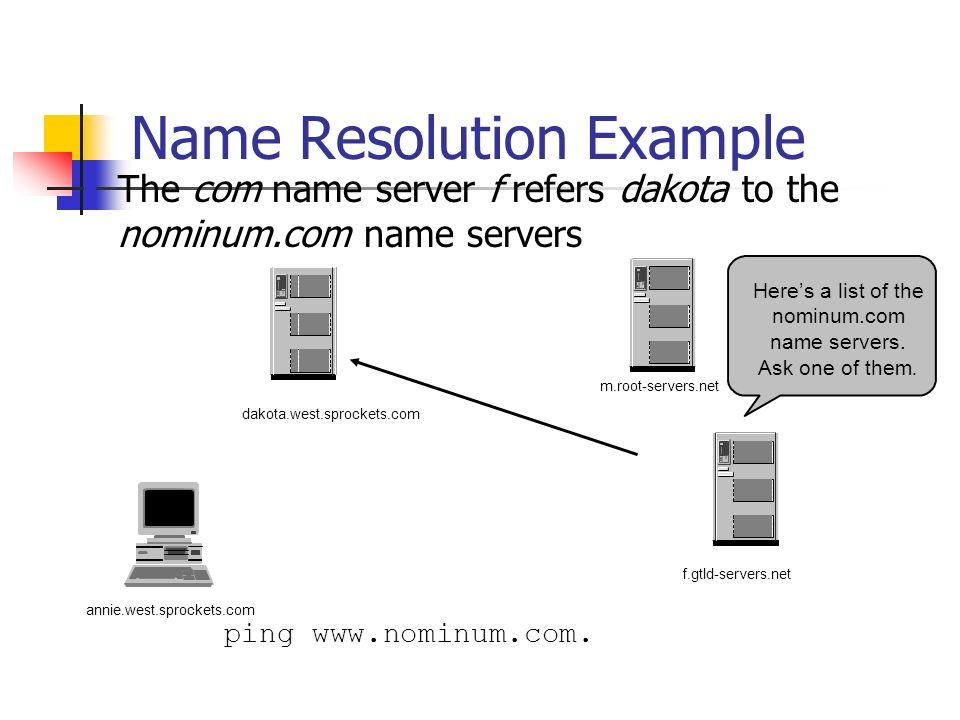 Name Resolution Example The com name server f refers dakota to the nominum.com name servers ping www.nominum.com. annie.west.sprockets.com f.gtld-serv