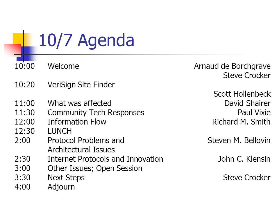 10/7 Agenda 10:00WelcomeArnaud de Borchgrave Steve Crocker 10:20VeriSign Site Finder Scott Hollenbeck 11:00What was affectedDavid Shairer 11:30Communi