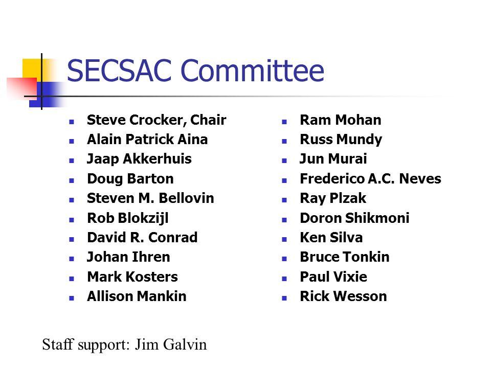 SECSAC Committee Steve Crocker, Chair Alain Patrick Aina Jaap Akkerhuis Doug Barton Steven M. Bellovin Rob Blokzijl David R. Conrad Johan Ihren Mark K