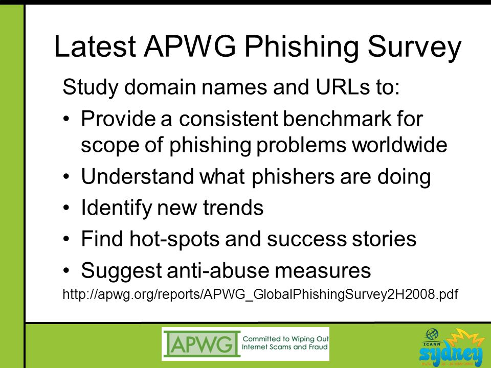 Latest APWG Phishing Survey Study domain names and URLs to: Provide a consistent benchmark for scope of phishing problems worldwide Understand what phishers are doing Identify new trends Find hot-spots and success stories Suggest anti-abuse measures http://apwg.org/reports/APWG_GlobalPhishingSurvey2H2008.pdf