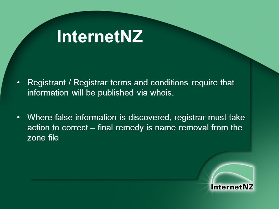 InternetNZ Registrant / Registrar terms and conditions require that information will be published via whois.
