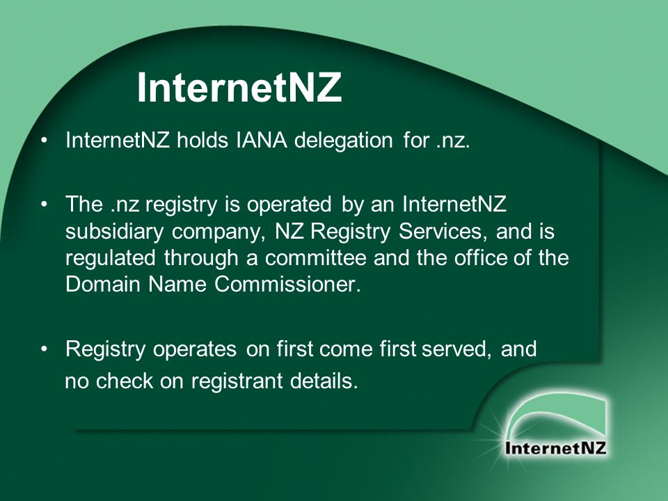 InternetNZ holds IANA delegation for.nz.
