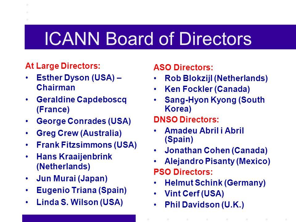 ICANN Board of Directors At Large Directors: Esther Dyson (USA) – Chairman Geraldine Capdeboscq (France) George Conrades (USA) Greg Crew (Australia) Frank Fitzsimmons (USA) Hans Kraaijenbrink (Netherlands) Jun Murai (Japan) Eugenio Triana (Spain) Linda S.
