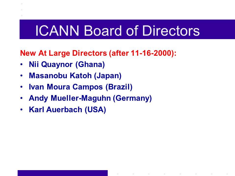 ICANN Board of Directors New At Large Directors (after 11-16-2000): Nii Quaynor (Ghana) Masanobu Katoh (Japan) Ivan Moura Campos (Brazil) Andy Mueller