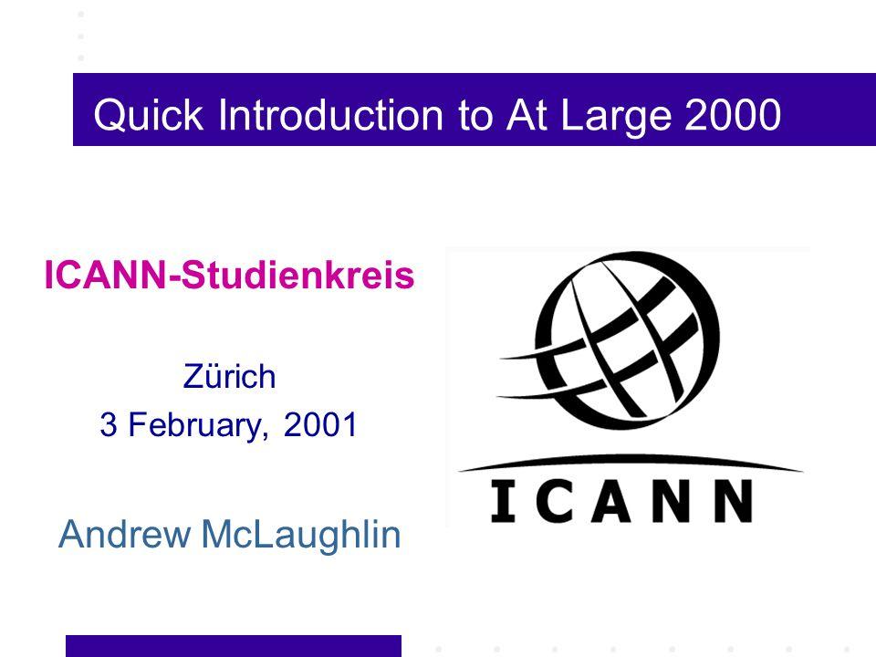 Green Paper Proposed 15-member ICANN Board, with seven members representing Internet users, via existing Internet membership organizations (e.g., ARIN, APNIC, RIPE, IAB) 30 January, 1998