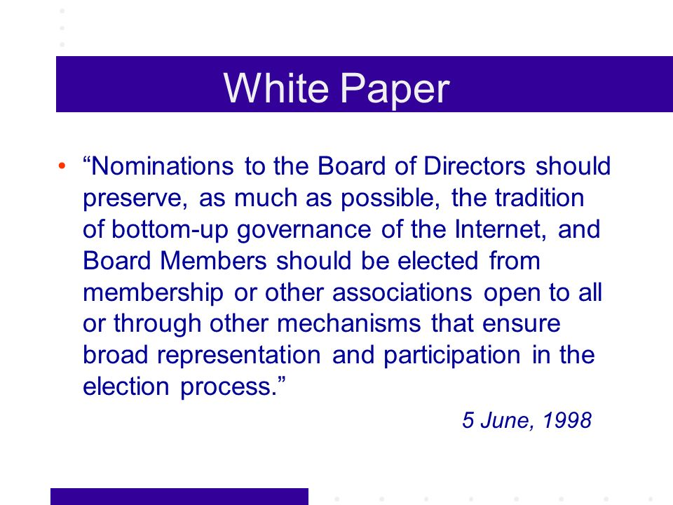 Original ICANN Bylaws Blank section reserved for membership Process for selecting At Large Directors to be determined by the 9 At Large members of the Initial Board Called for Membership Advisory Committee to make recommendations