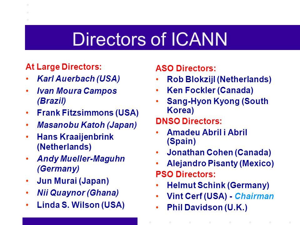 Directors of ICANN At Large Directors: Karl Auerbach (USA) Ivan Moura Campos (Brazil) Frank Fitzsimmons (USA) Masanobu Katoh (Japan) Hans Kraaijenbrin