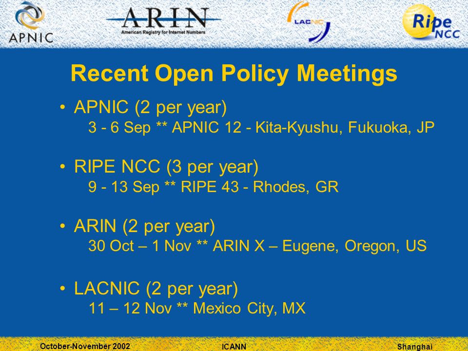 Shanghai October-November 2002 ICANN Recent Open Policy Meetings APNIC (2 per year) Sep ** APNIC 12 - Kita-Kyushu, Fukuoka, JP RIPE NCC (3 per year) Sep ** RIPE 43 - Rhodes, GR ARIN (2 per year) 30 Oct – 1 Nov ** ARIN X – Eugene, Oregon, US LACNIC (2 per year) 11 – 12 Nov ** Mexico City, MX