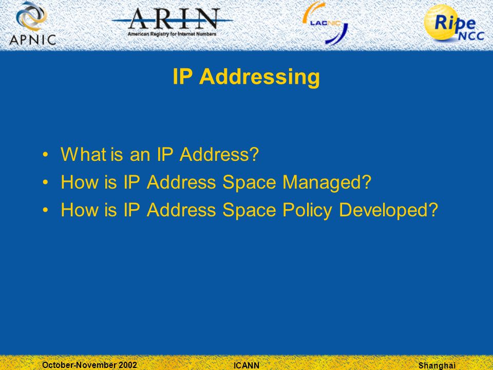 Shanghai October-November 2002 ICANN IP Addressing What is an IP Address.