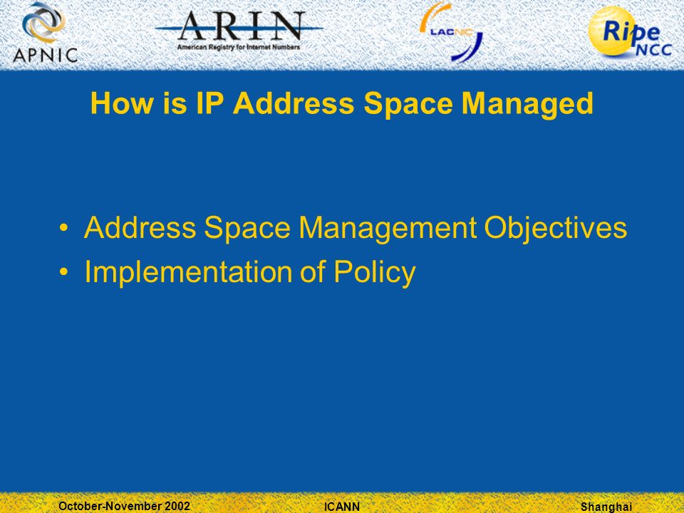 Shanghai October-November 2002 ICANN How is IP Address Space Managed Address Space Management Objectives Implementation of Policy