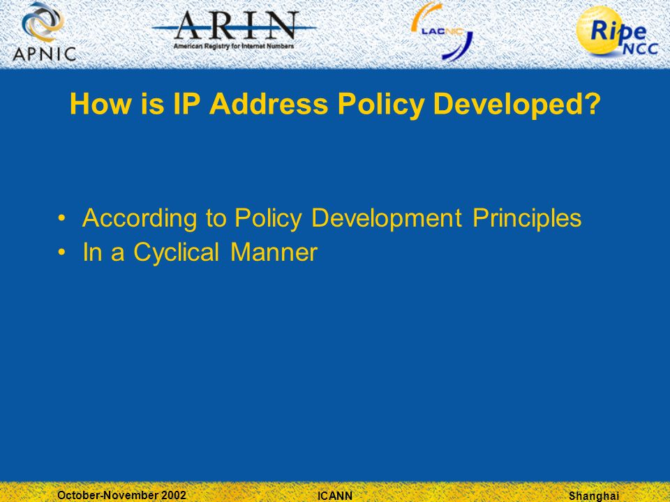 Shanghai October-November 2002 ICANN How is IP Address Policy Developed? According to Policy Development Principles In a Cyclical Manner