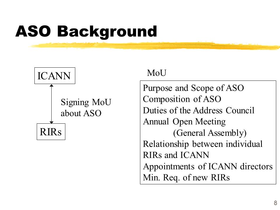 8 ASO Background ICANN RIRs Signing MoU about ASO Purpose and Scope of ASO Composition of ASO Duties of the Address Council Annual Open Meeting (General Assembly) Relationship between individual RIRs and ICANN Appointments of ICANN directors Min.