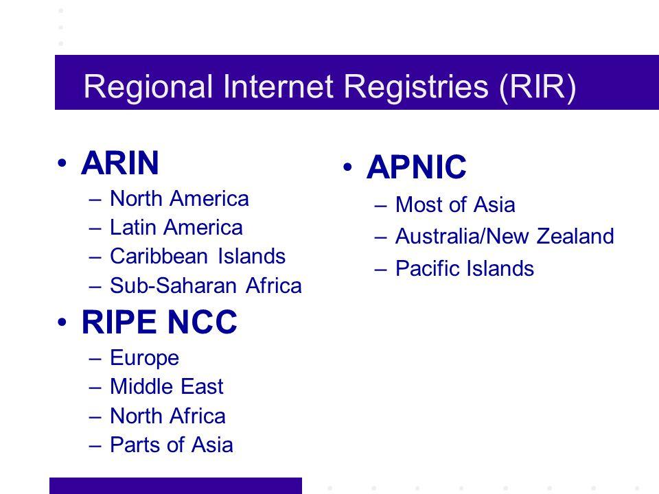 Regional Internet Registries (RIR) ARIN –North America –Latin America –Caribbean Islands –Sub-Saharan Africa RIPE NCC –Europe –Middle East –North Africa –Parts of Asia APNIC –Most of Asia –Australia/New Zealand –Pacific Islands