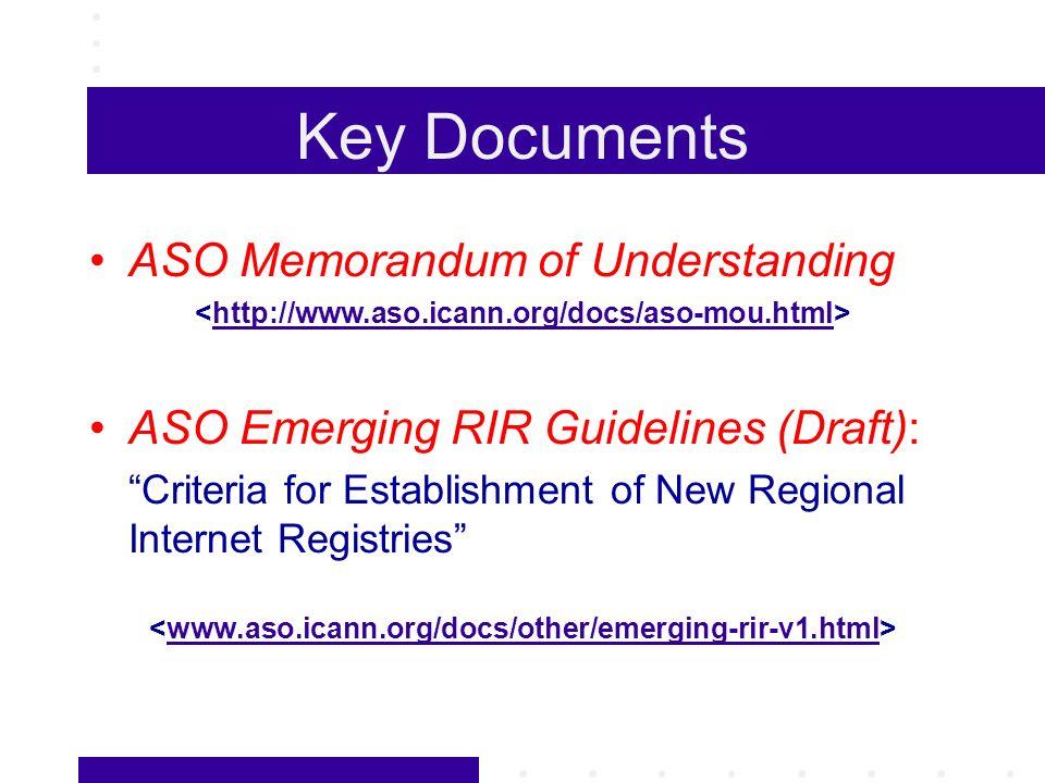 Key Documents ASO Memorandum of Understanding http://www.aso.icann.org/docs/aso-mou.html ASO Emerging RIR Guidelines (Draft): Criteria for Establishment of New Regional Internet Registries www.aso.icann.org/docs/other/emerging-rir-v1.html