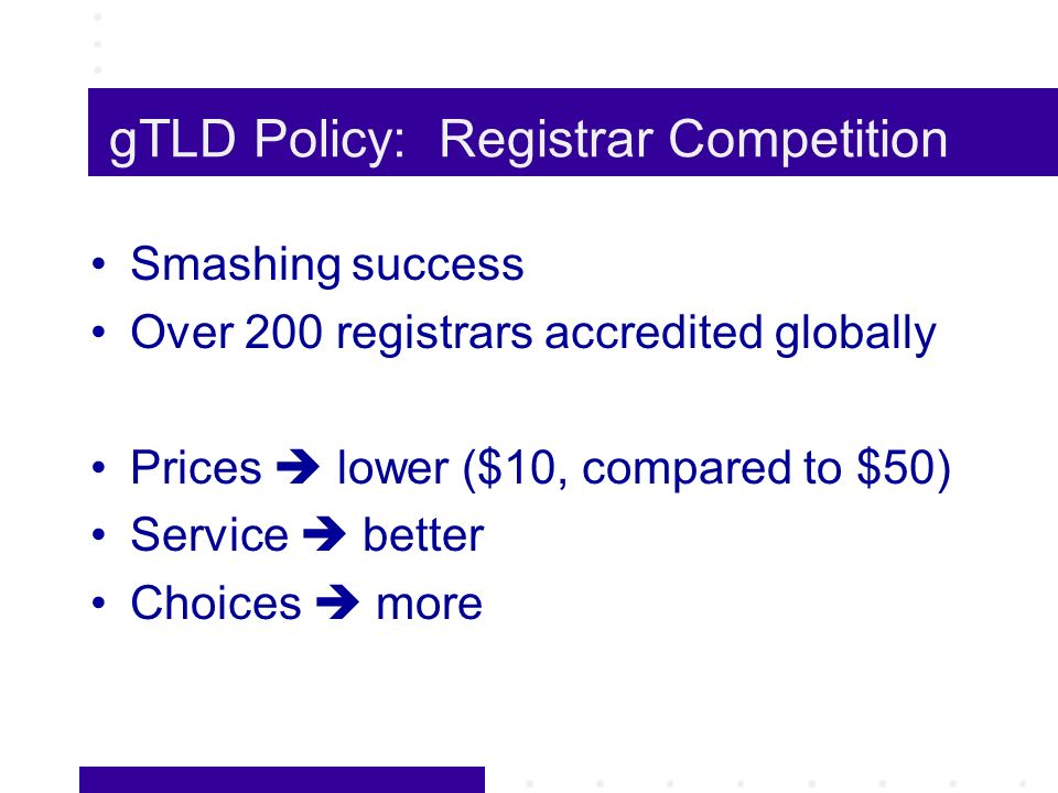 gTLD Policy: Registrar Competition Smashing success Over 200 registrars accredited globally Prices lower ($10, compared to $50) Service better Choices more