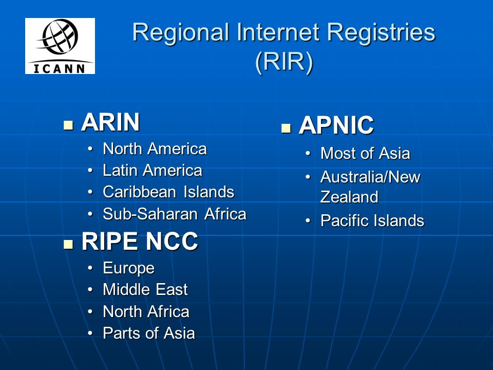Regional Internet Registries (RIR) ARIN ARIN North AmericaNorth America Latin AmericaLatin America Caribbean IslandsCaribbean Islands Sub-Saharan AfricaSub-Saharan Africa RIPE NCC RIPE NCC EuropeEurope Middle EastMiddle East North AfricaNorth Africa Parts of AsiaParts of Asia APNIC APNIC Most of Asia Australia/New Zealand Pacific Islands
