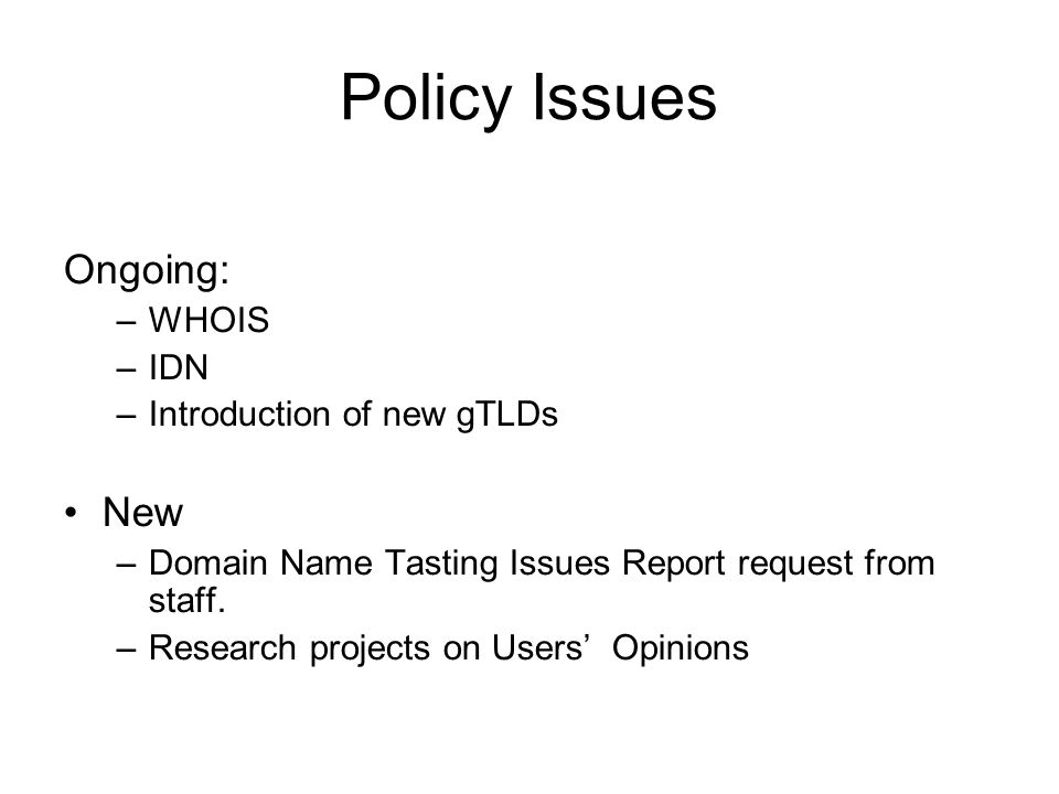Policy Issues Ongoing: –WHOIS –IDN –Introduction of new gTLDs New –Domain Name Tasting Issues Report request from staff.