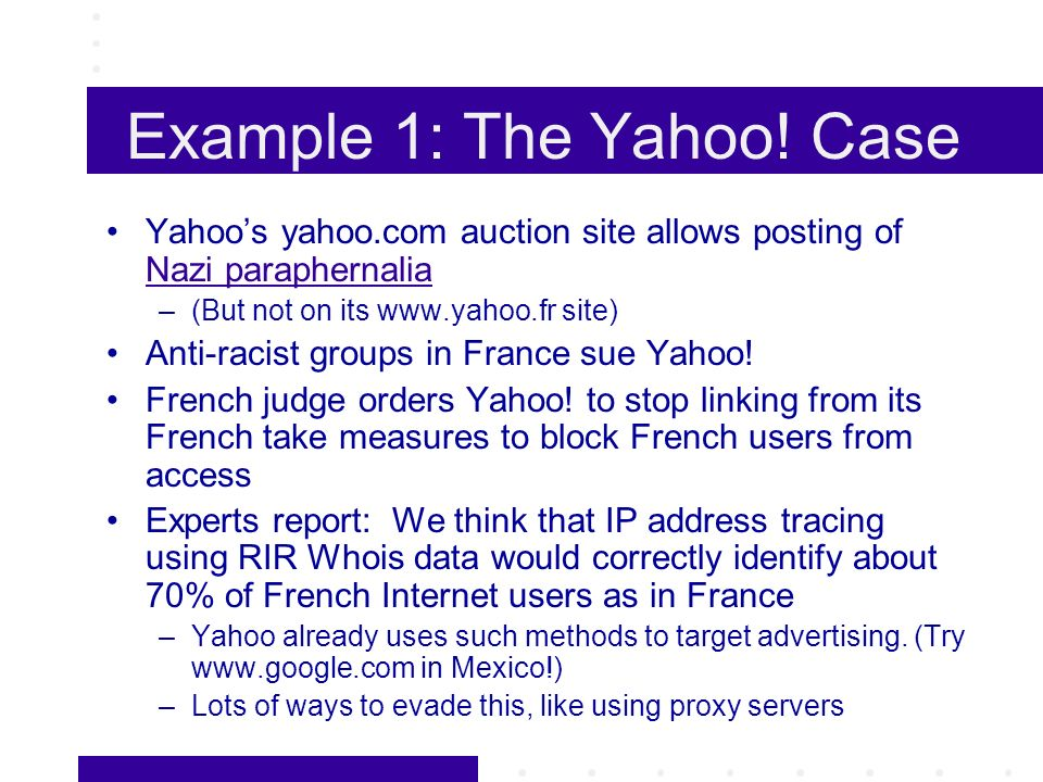 Example 1: The Yahoo.