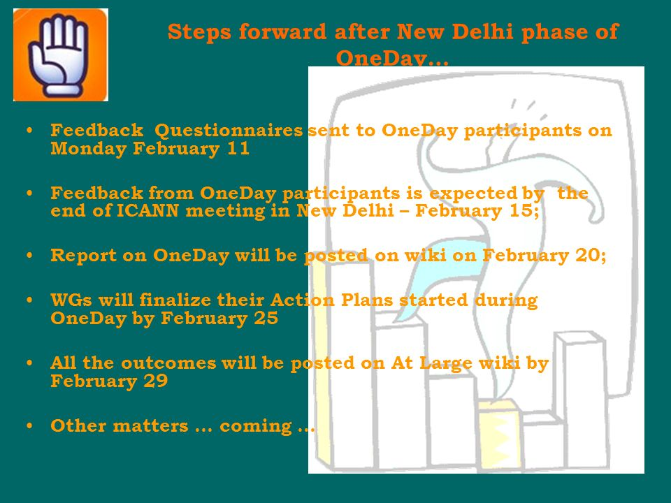 Steps forward after New Delhi phase of OneDay… Feedback Questionnaires sent to OneDay participants on Monday February 11 Feedback from OneDay participants is expected by the end of ICANN meeting in New Delhi – February 15; Report on OneDay will be posted on wiki on February 20; WGs will finalize their Action Plans started during OneDay by February 25 All the outcomes will be posted on At Large wiki by February 29 Other matters … coming …