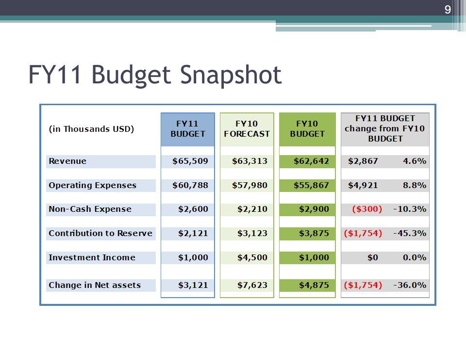 FY11 Budget Snapshot 9