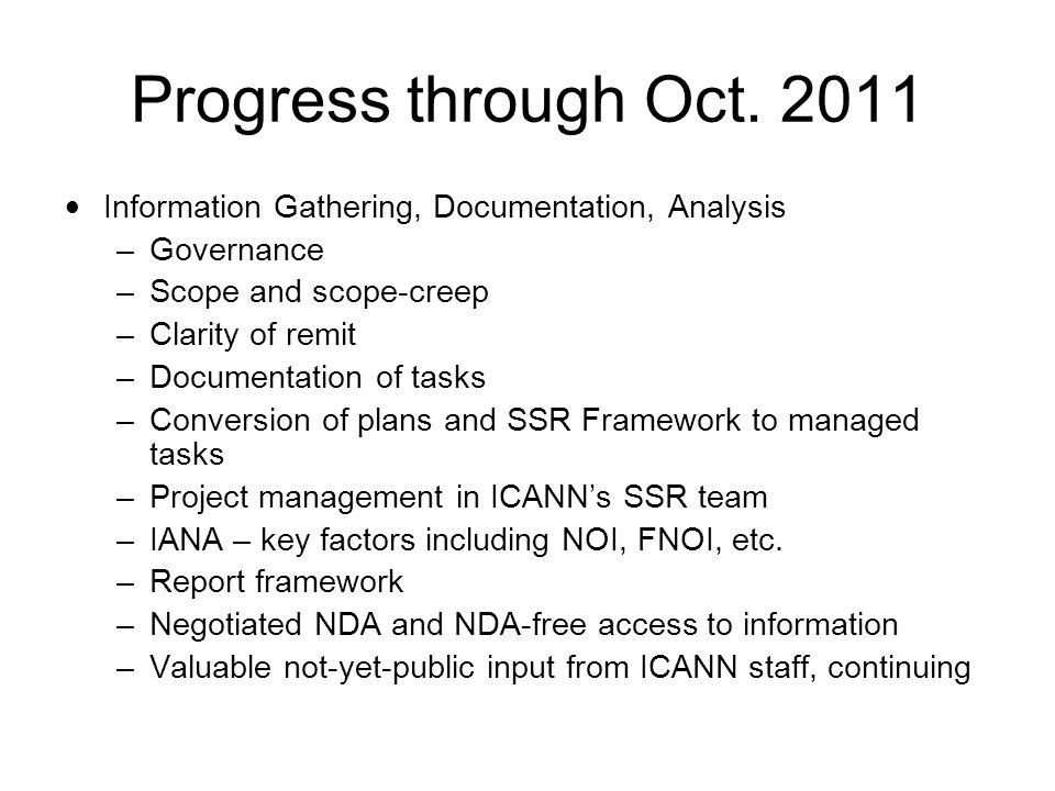 Progress through Oct. 2011 Information Gathering, Documentation, Analysis –Governance –Scope and scope-creep –Clarity of remit –Documentation of tasks
