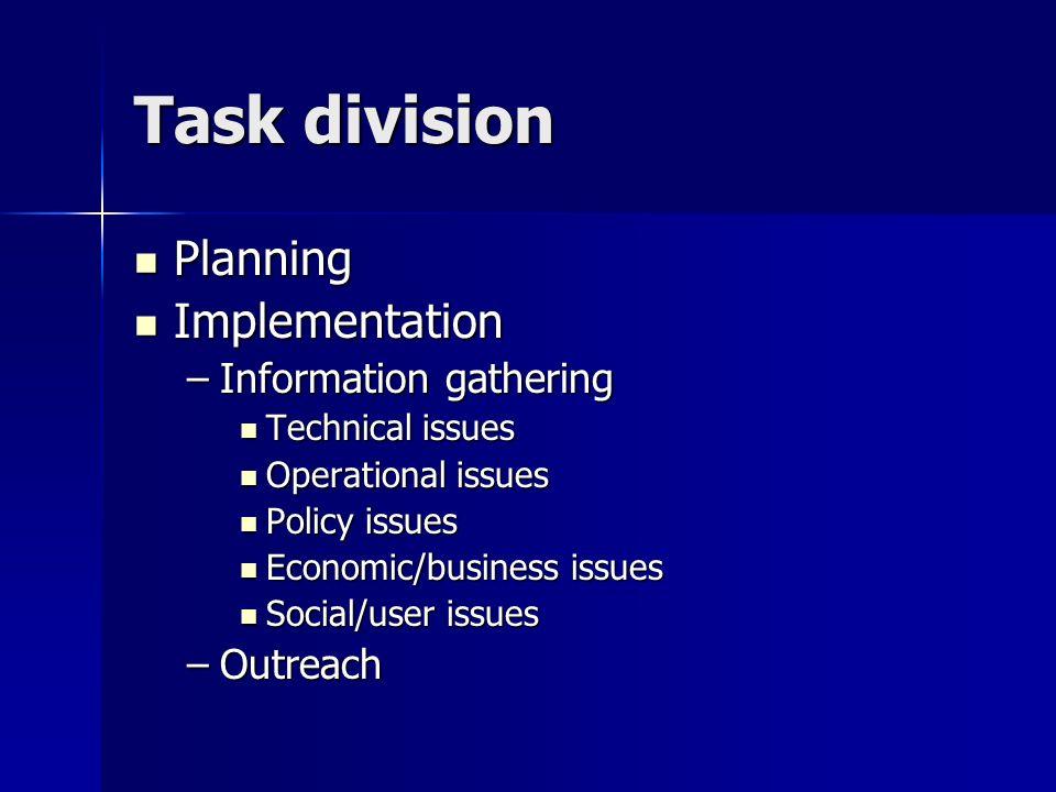 Task division Planning Planning Implementation Implementation –Information gathering Technical issues Technical issues Operational issues Operational issues Policy issues Policy issues Economic/business issues Economic/business issues Social/user issues Social/user issues –Outreach
