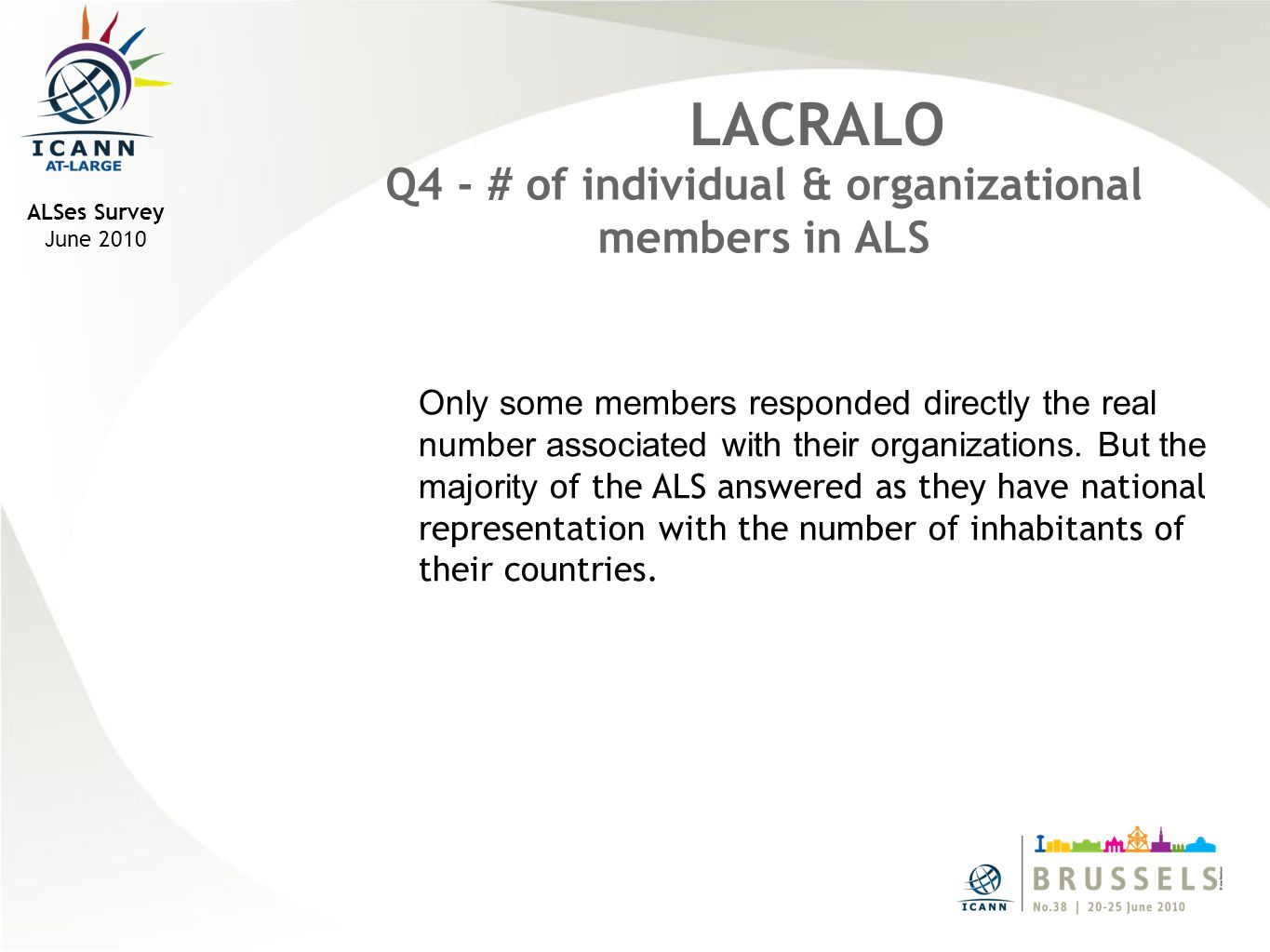 ALSes Survey June 2010 LACRALO Q4 - # of individual & organizational members in ALS Only some members responded directly the real number associated with their organizations.