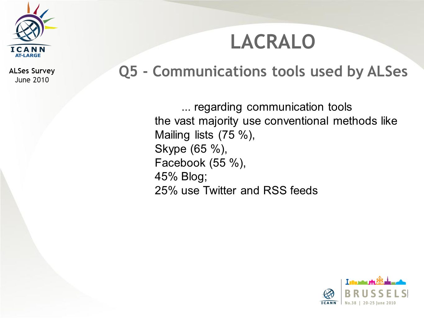 ALSes Survey June 2010 LACRALO Q14b - Which, if any, recommendation(s) would your ALS like to help the ALAC implement.