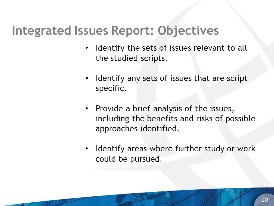 10 Integrated Issues Report: Objectives Identify the sets of issues relevant to all the studied scripts. Identify any sets of issues that are script s
