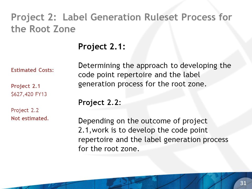 Project 2: Label Generation Ruleset Process for the Root Zone 31 Project 2.1: Determining the approach to developing the code point repertoire and the label generation process for the root zone.