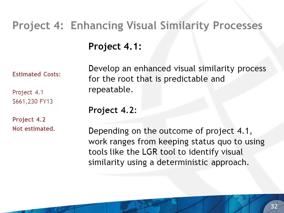 Project 4: Enhancing Visual Similarity Processes 32 Project 4.1: Develop an enhanced visual similarity process for the root that is predictable and re