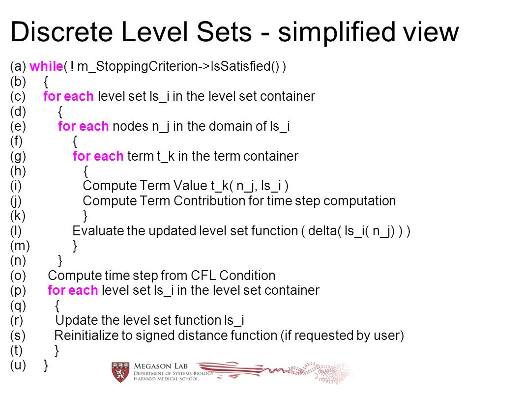 Discrete Level Sets - simplified view (a) while( .